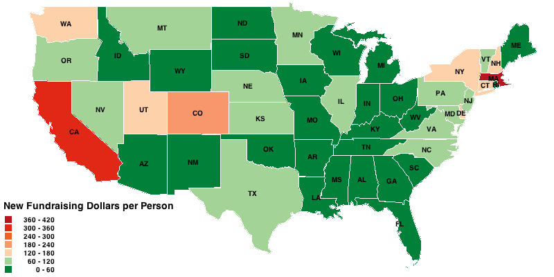 New Fundraising Dollars per Person, by State